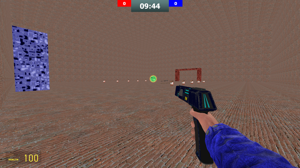 A wide shot of the GPong Test map, featuring basic geometry and some item spawns.